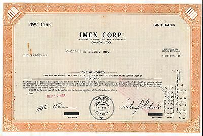 Imex Corp Stock Certificate 100 shares