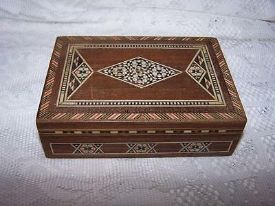 Vintage Wooden Trinket Jewelry Box W/ Parquetry Inlay