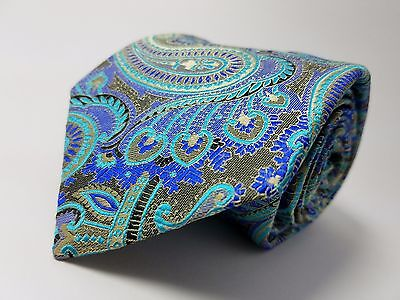 "BRUNO PIATTELLI 100% Silk Tie Boy's 52"" NWOT Blue Green Teal Pasiley Necktie"