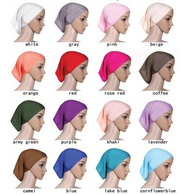 Womens Under Scarf Tube Bonnet Cap Bone Islamic Head Cover Hijab Hair Wrap Loss