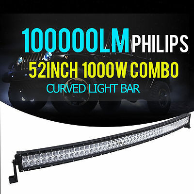 Curved 52inch 700W PHILIPS LED Light Bar Flood Spot Combo Work Offoard Truck 54