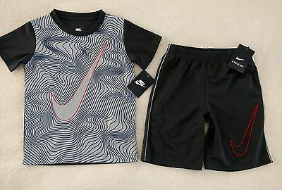 NWT Nike boys size 6 Athletic t shirt shorts 2 Piece set Outfit gray $36