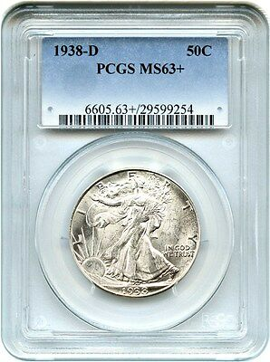1938-D 50c PCGS MS63+ - Low Mintage Issue - Walking Liberty Half Dollar