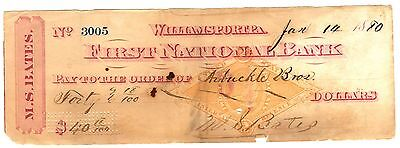 1880 Williamsport, Pennsylvania cancelled check w/ vignette tax revenue stamp
