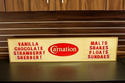 Vintage Carnation Ice Cream LIGHT UP Sign - Double Sided