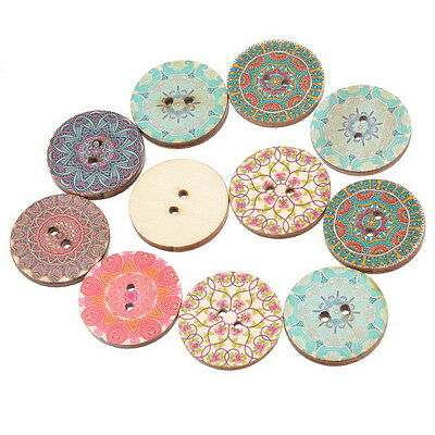 Pretty Pattern Wooden Buttons 25mm - 2 Holes - Sewing / DIY Craft / Scrapbooking