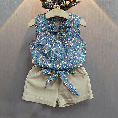 2PCS Toddler Kids Baby Girl Floral Bow Tops Shirt+Shorts Pants Outfit Clothes US