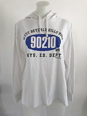 Vintage 90s TV show BEVERLY HILLS 90210 Hooded Long Sleeve T-shirt Top 1991 L