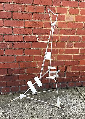 Vintage 60s Geometric Chic Wrought Iron Plant Stand Shabby White