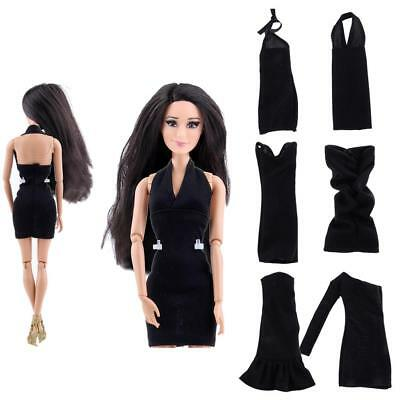 6 Black Dresses Wedding Ball Party Clothes Gowns for Barbie Doll Collections
