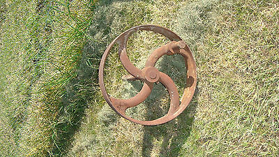 Antique steel wheel 48cm Heavy for size and great garden feature