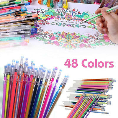 48 Colors Gel Pens Glitter Coloring Drawing Painting Markers Stationery Crafts