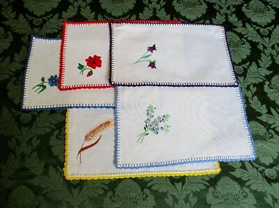 Vintage Tray Cloths - Hand Embroidered - Coll. Of 5