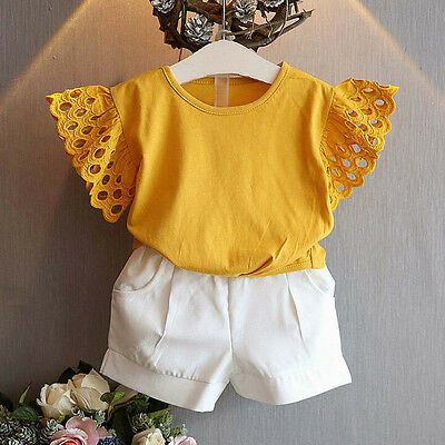 2PCS Toddler Kids Baby Girl Hollow Sleeve Shirt Tops+Shorts Pants Outfit Clothes