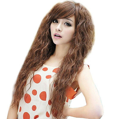 Women Ladies Wigs Long Deep Full Wavy Curly Front Fashion Brown Hair Wig Party