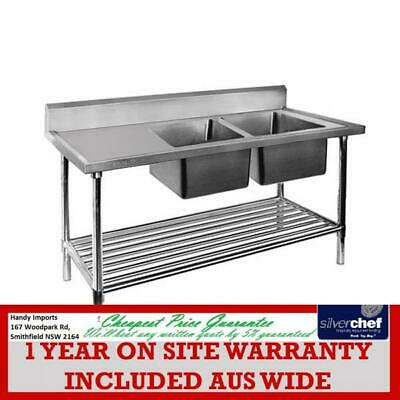 Fed Commercial Double Right Sink Bench With Pot Under Shelf  Dsb6-1500R/A