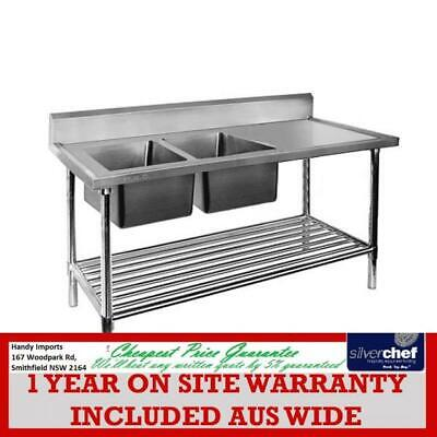 Fed Commercial Double Left Sink Bench With Pot Under Shelf  Dsb6-1800L/a