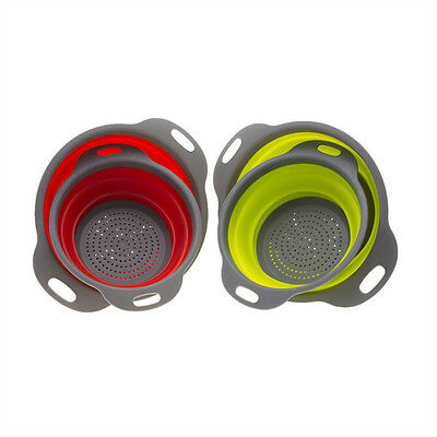 Folding Collapsible 2 Sizes Silicone Kitchen Filter Baskets Colander Strainers