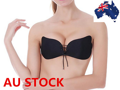 Women New Breathable Push-up Adjustable Strapless Adhesive Invisible Bra Black