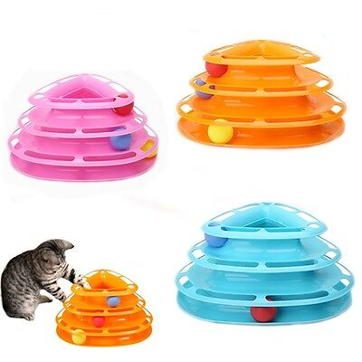 Pet Cat kitten Crazy Ball Disk Interactive Amusement Plate Trilaminar Funny Toy
