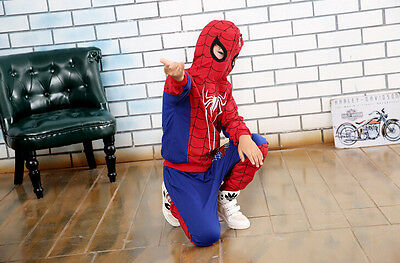 Tuta da ginnastica jogging set bimbo spiderman cappuccio mask