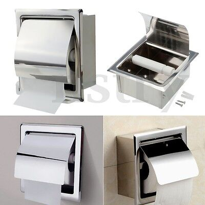 Stainless Steel Roll Toilet Tissue Holder Paper Wall Mount Bathroom Recessed Box