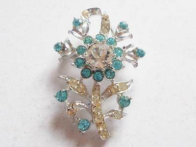 VINTAGE 1940's BLUE & CLEAR GLASS CRYSTAL SILVER TONE FLOWERS FLORAL BROOCH