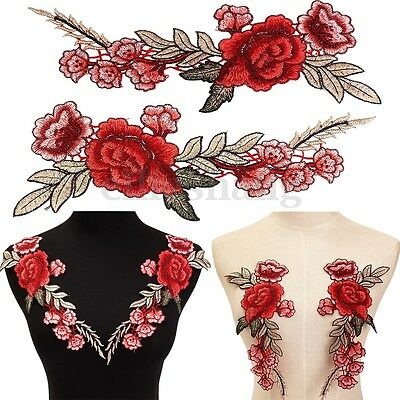 2Pcs Rose Flower Embroidered Floral Sew On Patch Collar Hat Jeans Badge Applique