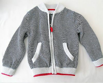 Little White Company boys heavy cotton knitted zip front Jacket Cardigan 18/24 m