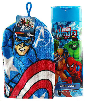 Avengers Captain America Wash Mitt And Large Marvel Heroes Bubble Bath
