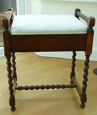 Edwardian oak piano stool with barley twist legs
