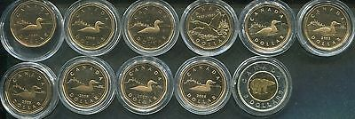 CANADA 1987/2008 - 10 x 1 Dollar + 2 Dollars in PP - ENTE, LUCKY LOONEY -RAR!