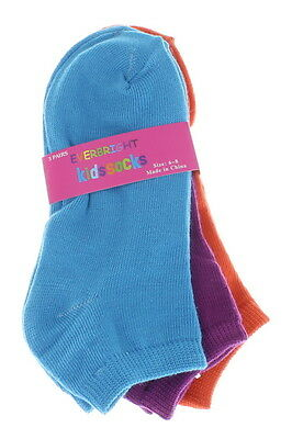 Lot of 6 Pairs Everbright Kids Fun Assorted Colors Kids Socks Size 6-8