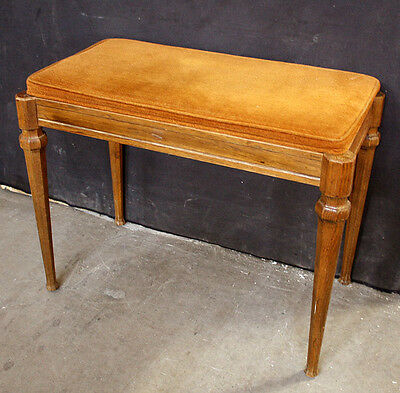 Vintage Antique Solid Wood Wooden Piano Organ Storage Bench Fabric Seat Chair