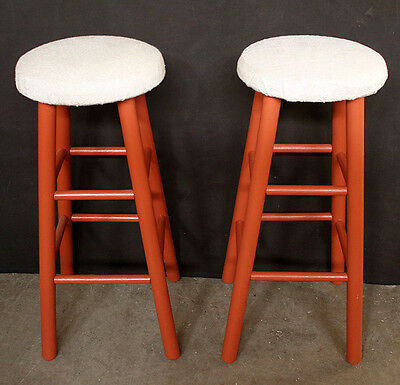 Restored Vintage Solid Wood Wooden Fabric Cloth Furniture Stool Seat Chair Stand
