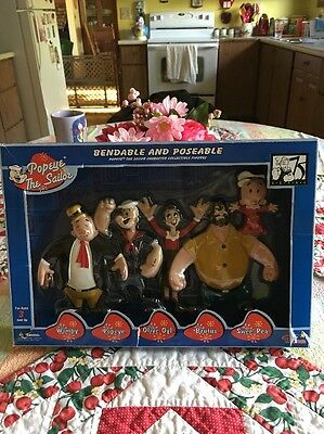 NIB 2003 Popeye the Sailor Man 5 BENDABLE and Poseable Character Figures
