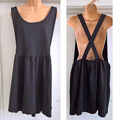 Ex River Island Ladies Black Cross Over Skater Pinafore Dress Size 6 - 16 NEW