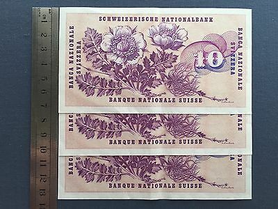 Switzerland 10 Francs 5 Januar 1970 P#45p. - 3 Consecutive Serial Numbers