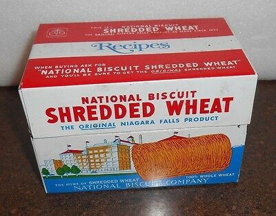 Vintage 1973 NABISCO (National Biscuit) Shredded Wheat Recipe Box Tin