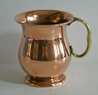 Vintage 1/2 pint copper tankard with brass handle