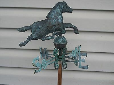 Copper Horse Weathervane And Lighting Rod