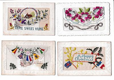 Set of 4 Antique Silk WW1 Military Postcards Christmas with Inserts
