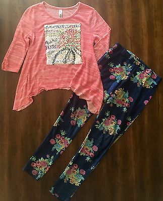 Girl's Spring Outfit Size 12/14 Paris Shirt Top Flower Leggings ARIZONA/JCPENNY