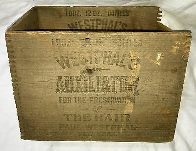 1890s ANTIQUE WESTPHAL'S AUXILIATOR HAIR PRESERVATION TONIC BOTTLE NY WOODEN BOX