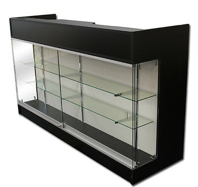 6' Ledgetop POS Sales Retail Store Display Showcase Counter Black Knockdown New
