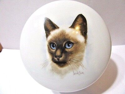 Derick Bown Siamese Cat Box Top & Interior Decorated Vintage Covered Jar Trinket