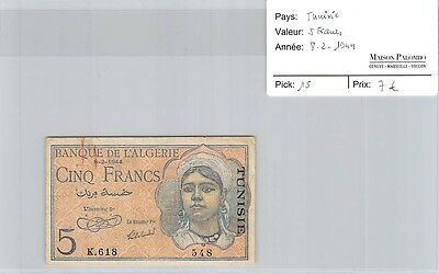 Billet Tunisie - 5 Francs - 8.2.1944