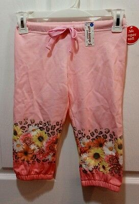 Justice Super Soft Pink Floral Cropped Skinny Cuff Capri Pants (NWT) (5)