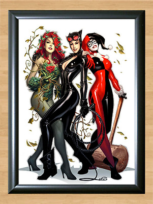 Cat woman Harley Quinn Poison Ivy Halloween Wall Art Decor A4 Print Photo Poster