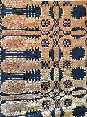 Antique Woven Double Layer Reversible Coverlet Panel Pine Tree Border